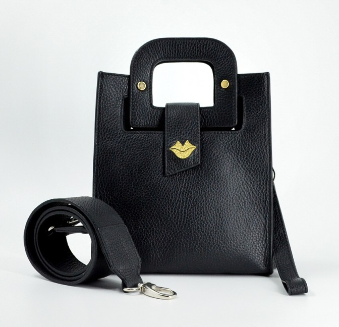 Black leather bag ARTISTE, gold mouth embroidery, view 5   Gloria Balensi