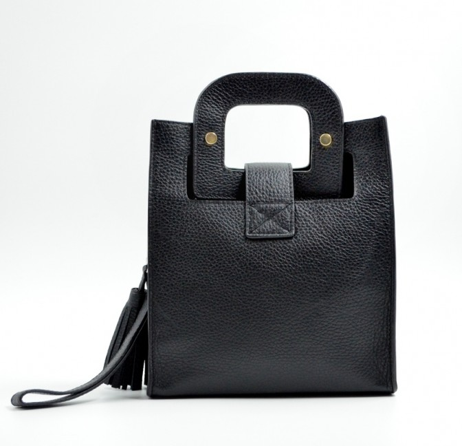 Black leather bag ARTISTE, gold mouth embroidery, view 6   Gloria Balensi