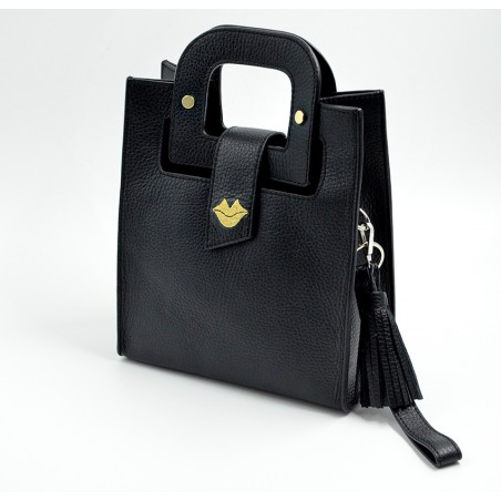 Black leather bag ARTISTE, gold mouth embroidery, view 2   Gloria Balensi