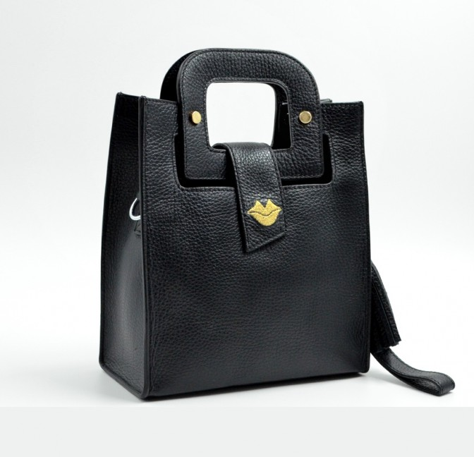 Black leather bag ARTISTE, gold mouth embroidery, view 3   Gloria Balensi