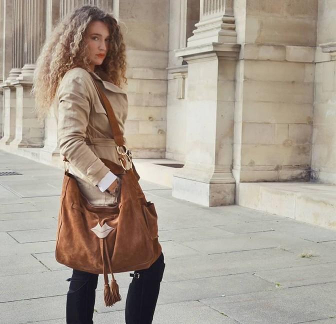 XXL Soft tote bag MIKI camel Gloria Balensi | view 2