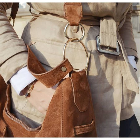 XXL Soft tote bag MIKI camel Gloria Balensi | zoom view
