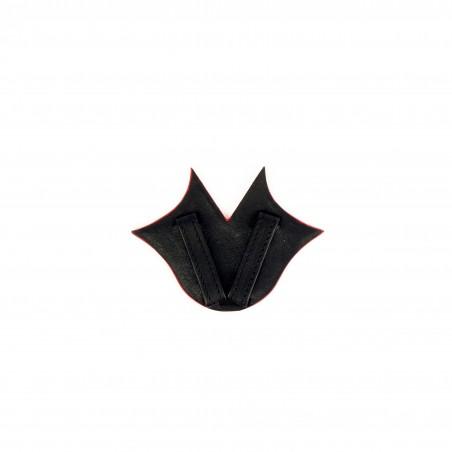 Ceinture femme Muse en cuir de veau GLORIA BALENSI rouge et noir, vue dos passant