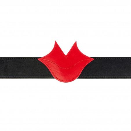 Ceinture femme Muse en cuir GLORIA BALENSI rouge et noir, vue devant avec ceinture