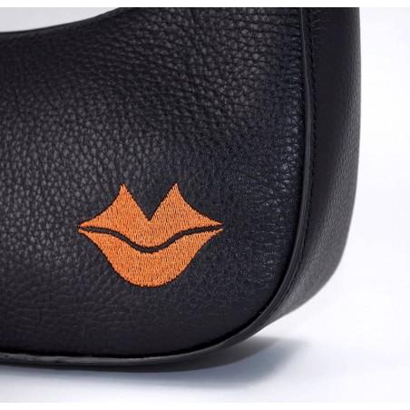 Sac baguette noir MIA, broderie bouche orange cuir de vachette grainé, vue 3 | Gloria Balensi