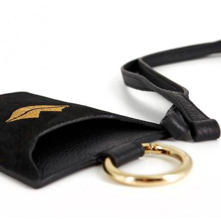 Black and gold velvet leather TELI phone pouch, lying view | Gloria Balensi