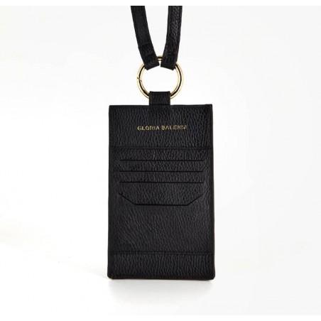Pochette téléphone noir TÉLI, vachette et daim, broderie bouche rouge, vue dos | Gloria Balensi