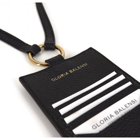 Pochette téléphone noir cuir daim, broderie bouche or TÉLI, vue 3 | Gloria Balensi