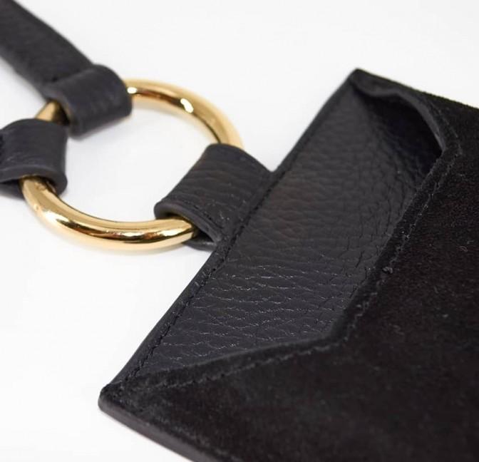 Pochette téléphone noir cuir daim, broderie bouche or TÉLI, vue 8 | Gloria Balensi