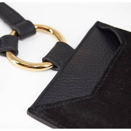 Black and gold velvet leather TELI phone pouch, zoom front  | Gloria Balensi
