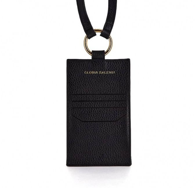Black and gold velvet leather TELI phone pouch, back view | Gloria Balensi