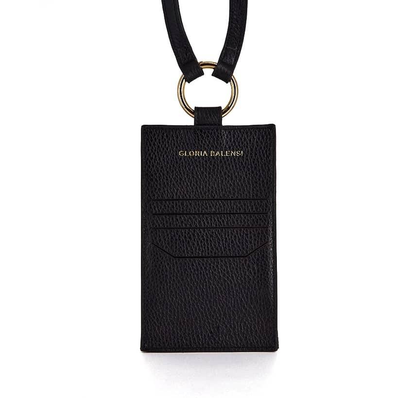 Pochette téléphone noir cuir daim, broderie bouche or TÉLI, vue 9 | Gloria Balensi