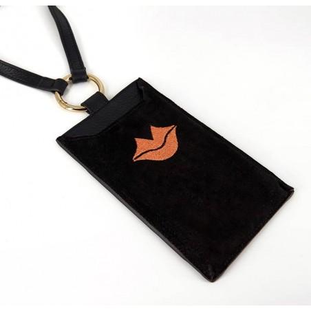 Black and orange velvet leather TELI phone pouch, lying view 1 | Gloria Balensi