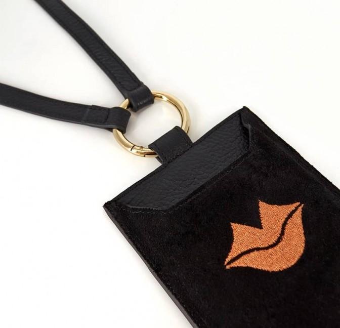 Black and orange velvet leather TELI phone pouch, lying view 2 | Gloria Balensi