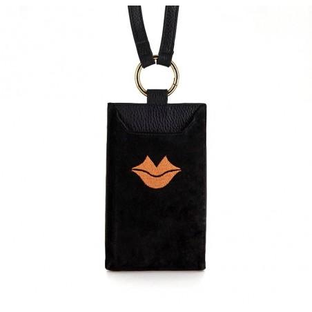 Black and orange velvet leather TELI phone pouch, front view | Gloria Balensi