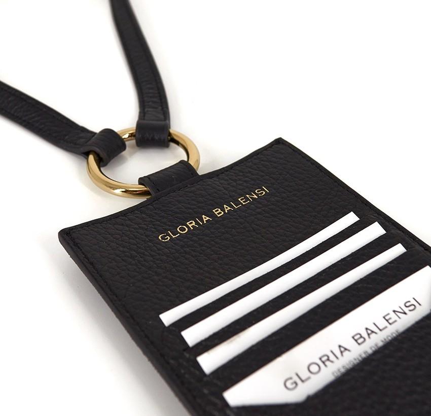 Pochette téléphone noir cuir daim, broderie bouche orange TÉLI, vue 4 | Gloria Balensi