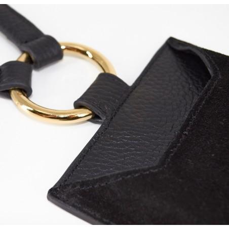 Black and orange velvet leather TELI phone pouch, zoom front  | Gloria Balensi