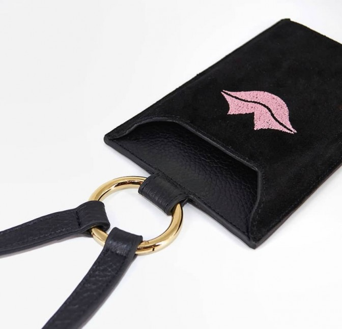 Black and pink velvet leather TELI phone pouch, lying view 2 | Gloria Balensi