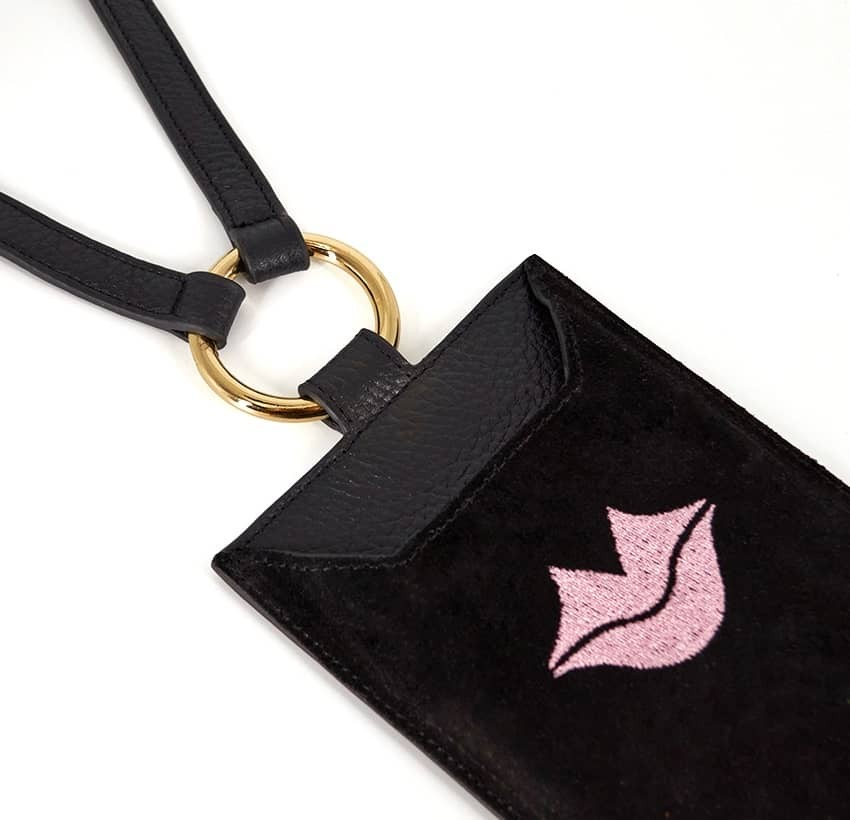Black and pink velvet leather TELI phone pouch, lying view | Gloria Balensi