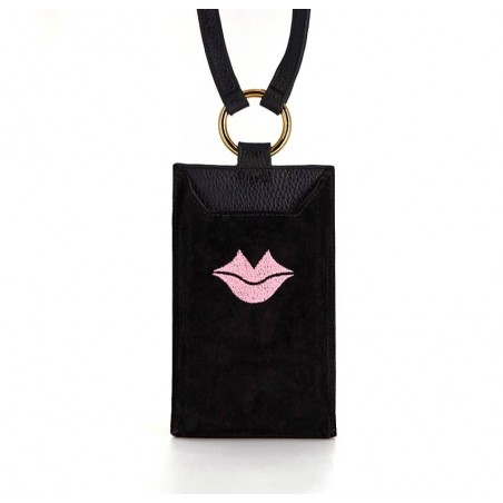 Black and pink velvet leather TELI phone pouch, front view | Gloria Balensi