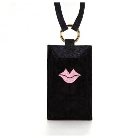 Pochette téléphone noir cuir daim, broderie bouche rose TÉLI, vue 2 | Gloria Balensi