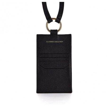Pochette téléphone noir cuir daim, broderie bouche rose TÉLI, vue 10 | Gloria Balensi