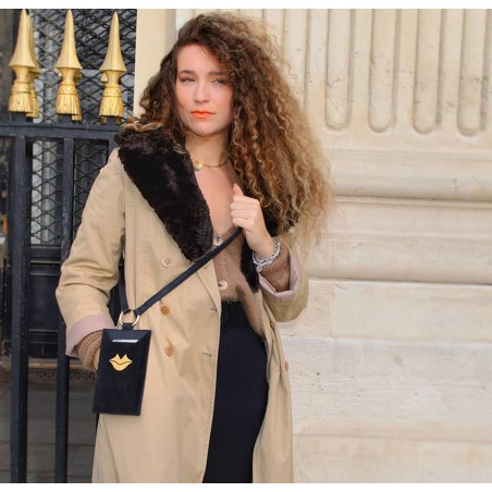 Black and gold velvet leather TELI phone pouch, Look 2 view | Gloria Balensi