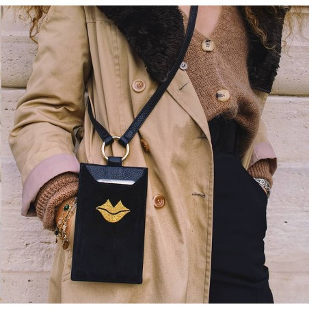 Black and gold velvet leather TELI phone pouch, Look 1 view | Gloria Balensi