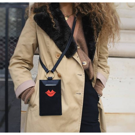 Black and red velvet leather TELI phone pouch, Look 2 view | Gloria Balensi