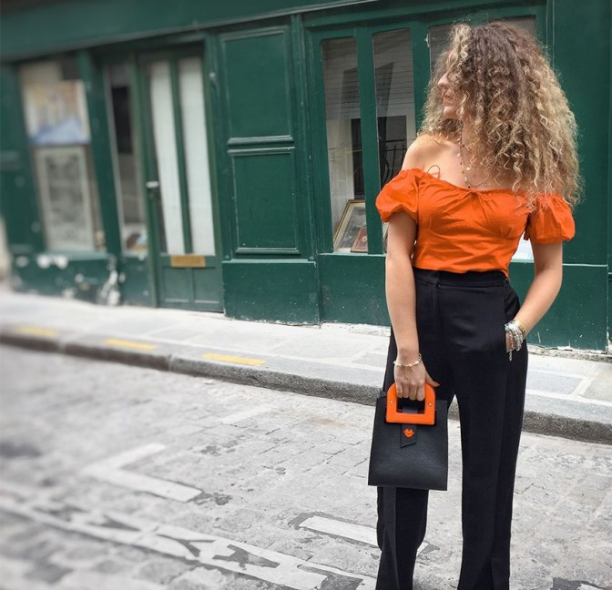 Black leather bag ARTISTE, orange handle and mouth embroidery , view 6    Gloria Balensi
