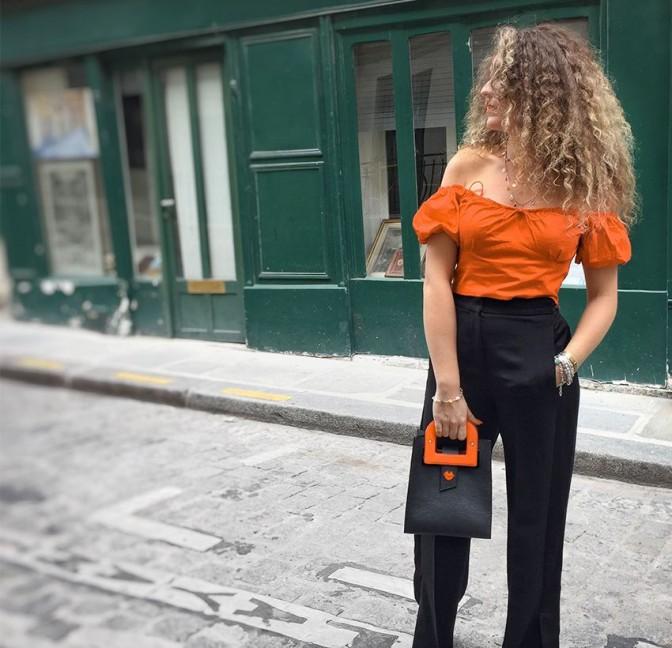 Sac en cuir noir ARTISTE, broderie bouche et anses orange, vue 6  Gloria Balensi