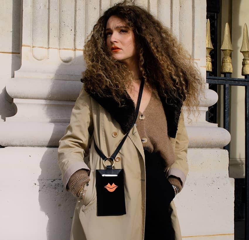 Black and orange velvet leather TELI phone pouch, Look 3 view | Gloria Balensi