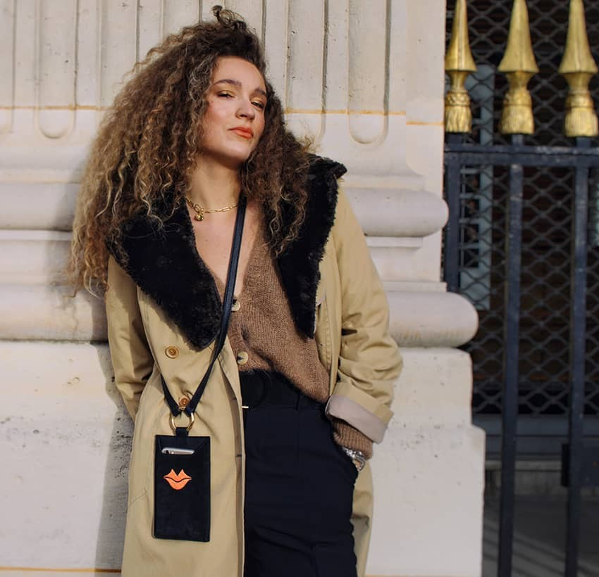 Black and orange velvet leather TELI phone pouch, Look 1 view | Gloria Balensi