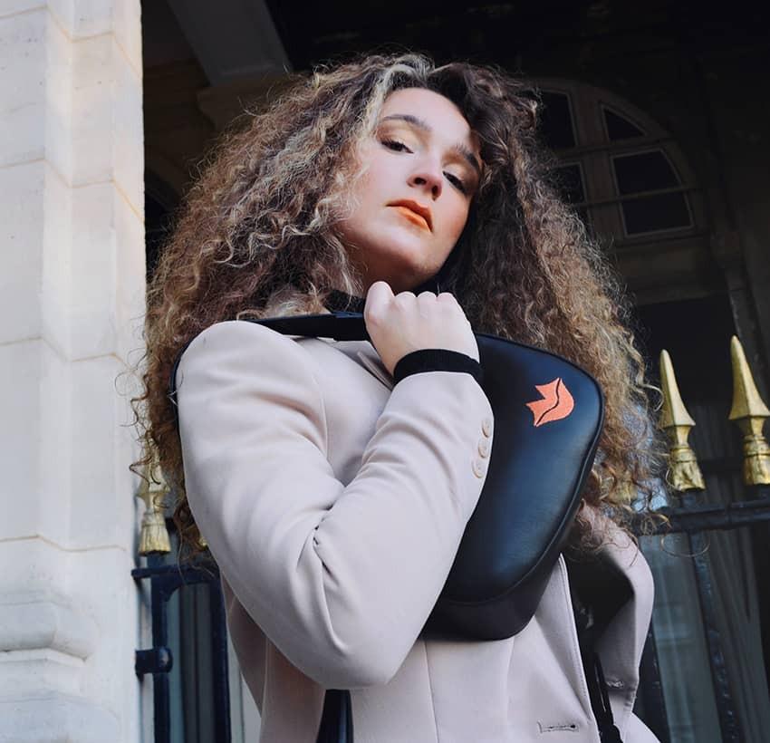 MIA black and orange baguette bag in cowhide leather, look 2 view | Gloria Balensi