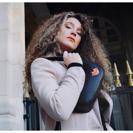 Sac baguette noir cuir MIA2, broderie bouche orange cuir de vachette lisse, vue 3 | Gloria Balensi