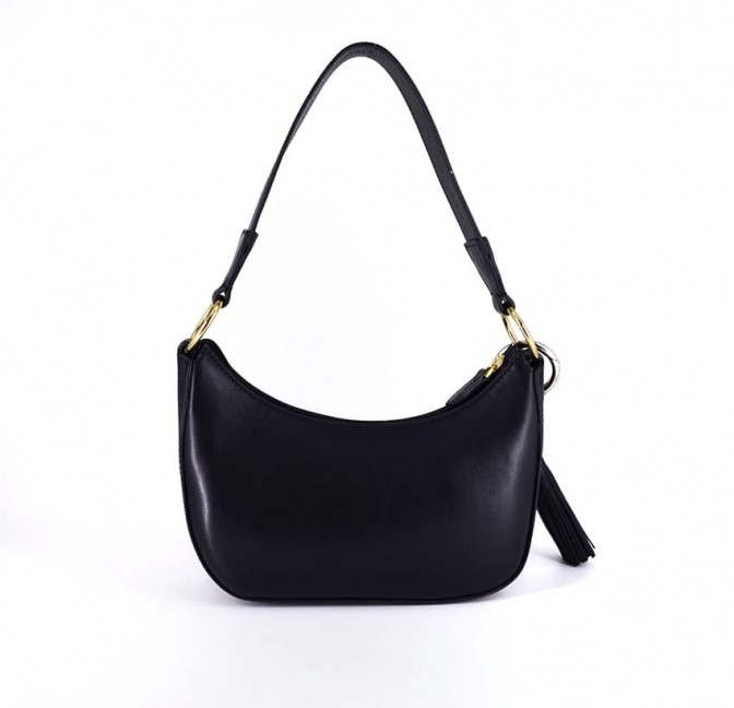 MIA black and orange baguette bag in cowhide leather, back view | Gloria Balensi
