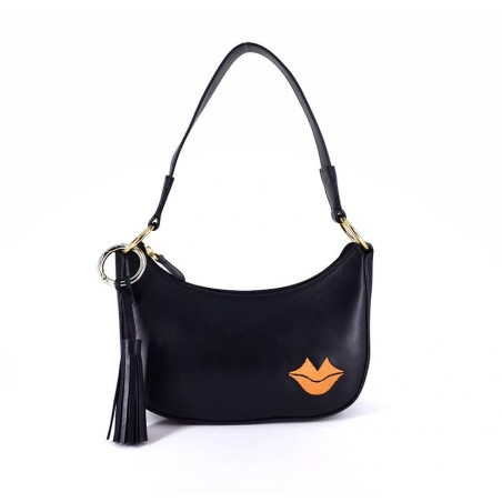 MIA black and orange baguette bag in cowhide leather, front view | Gloria Balensi
