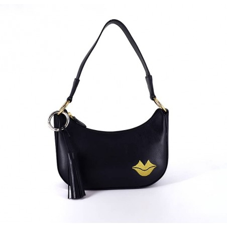 MIA black and gold baguette bag in cowhide leather, front view | Gloria Balensi