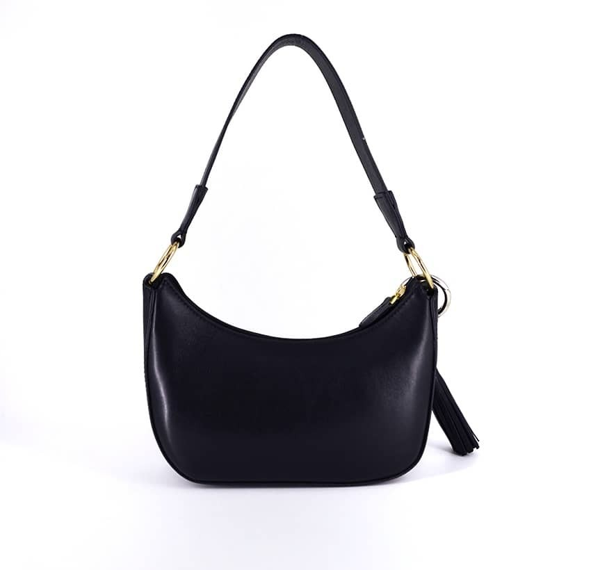 MIA black and gold baguette bag in cowhide leather, back view | Gloria Balensi