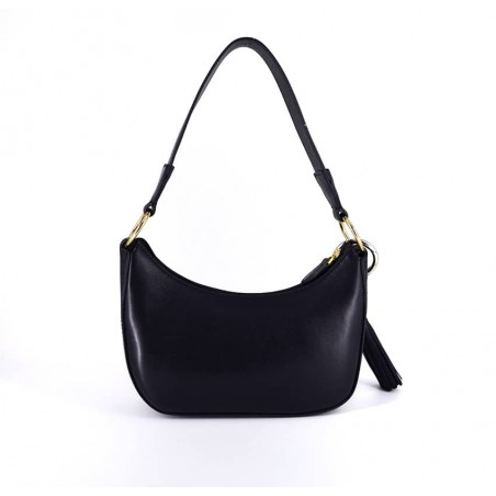 MIA black and red baguette bag in cowhide leather, back view | Gloria Balensi