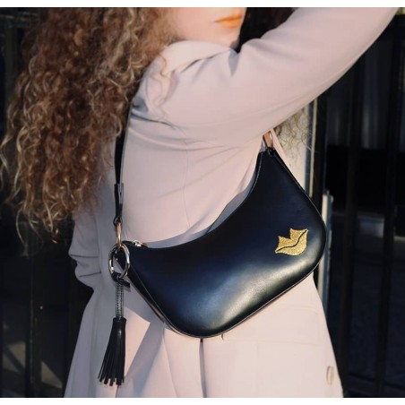 MIA black and gold baguette bag in cowhide leather, look 1 view | Gloria Balensi