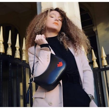 Sac baguette noir MIA 2, broderie bouche rouge cuir de vachette lisse, vue 2 | Gloria Balensi