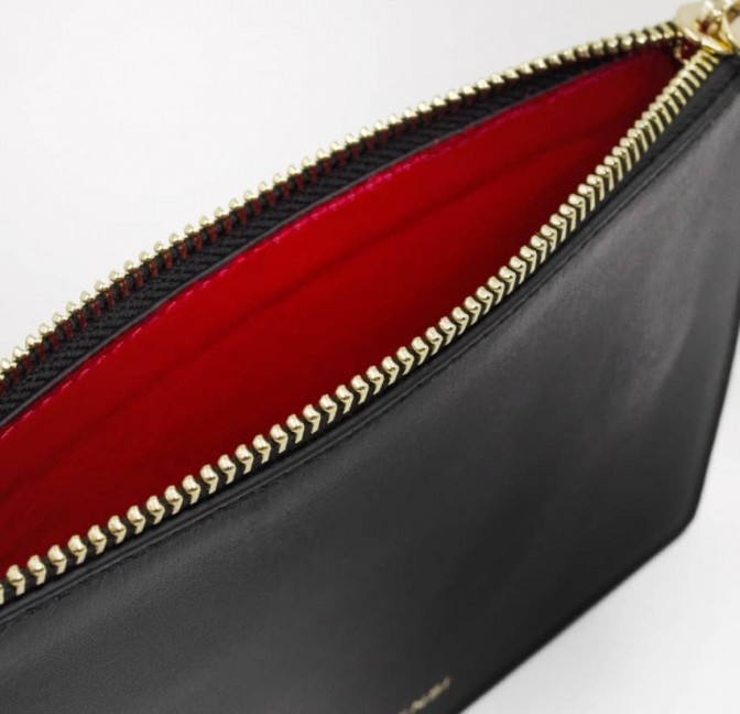 Black leather Zipped pouch ISADORA, red mouth , lining view | Gloria Balensi