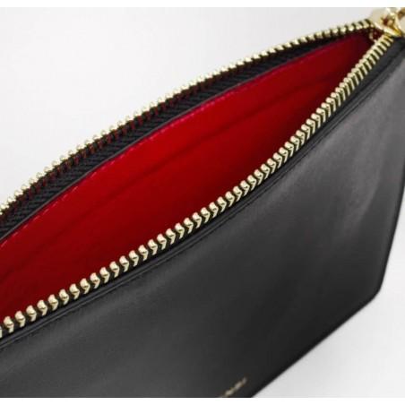 Pochette zippée en cuir noir ISADORA, bouche rouge, vue doublure | Gloria Balensi