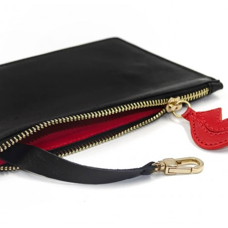 Black leather Zipped pouch ISADORA, red mouth , lying view  | Gloria Balensi