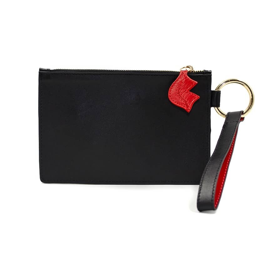 Black leather Zipped pouch ISADORA, red mouth , back view | Gloria Balensi