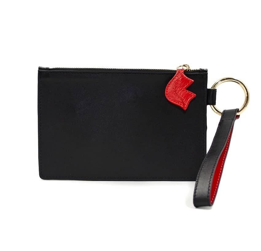 Pochette zippée en cuir noir ISADORA, bouche rouge, vue dos | Gloria Balensi