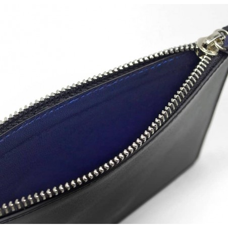 Black leather Zipped pouch ISADORA, navy blue mouth, lining view  | Gloria Balensi
