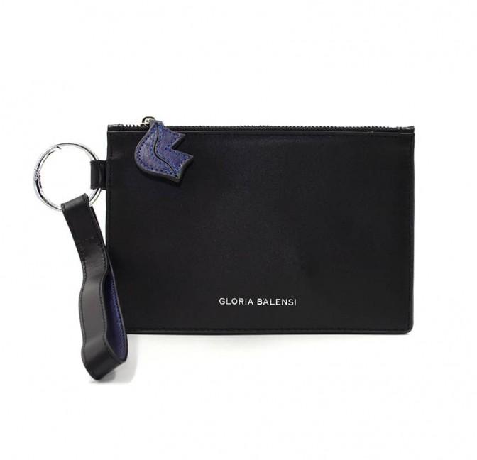 Pochette zippée mixte ISADORA en cuir lisse noir et bleu marine, vue devant | Gloria Balensi