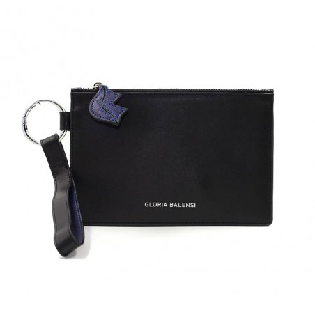 Black leather Zipped pouch ISADORA, navy blue mouth, Front view  | Gloria Balensi